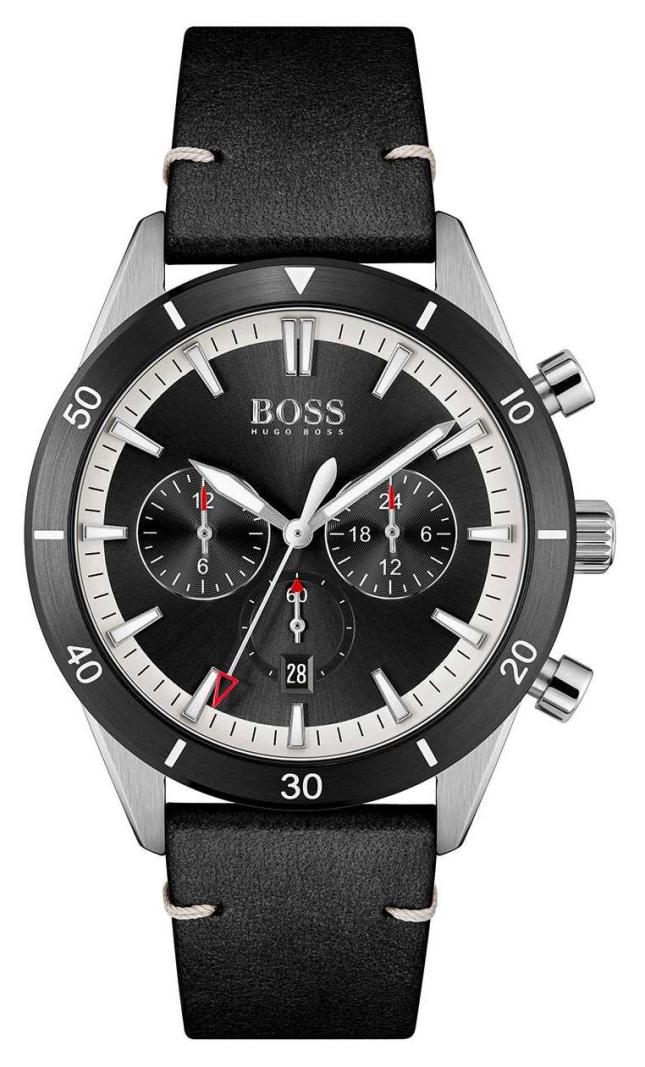 BOSS | Men's | Santiago | Black Dial | Black Leather Strap | 1513864