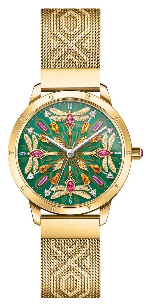 Thomas Sabo   Glam & Soul   Gold Tone Mesh Bracelet   Gemstone Dragonfly   WA0369-264-211-33