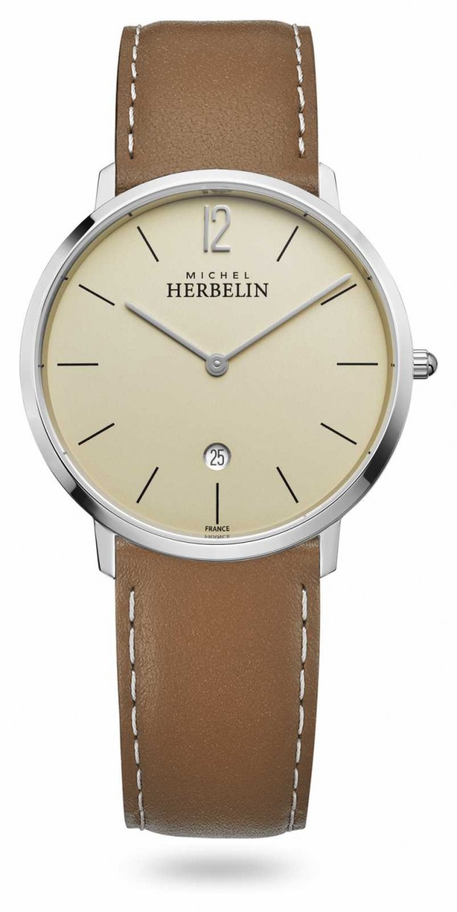 Michel Herbelin City | Brown Leather Strap | Champagne Dial 19515/17NGO