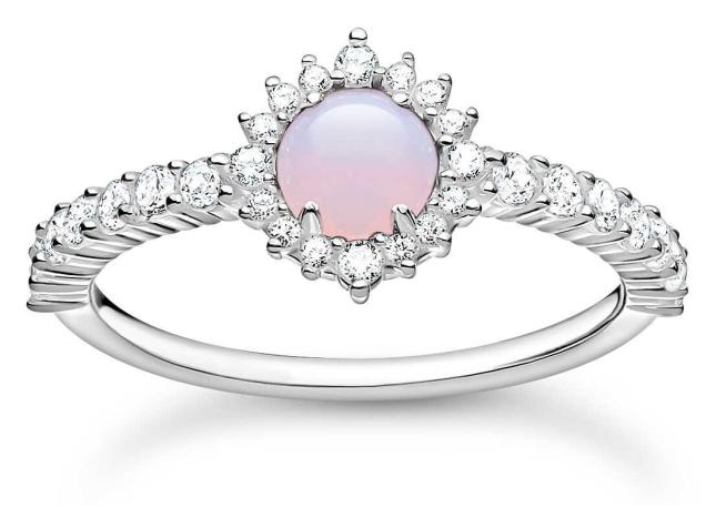 Thomas Sabo Vintage Shimmering Pink Opal Effect Ring | Size 56 ( UK O 1/2) TR2344-166-7-56