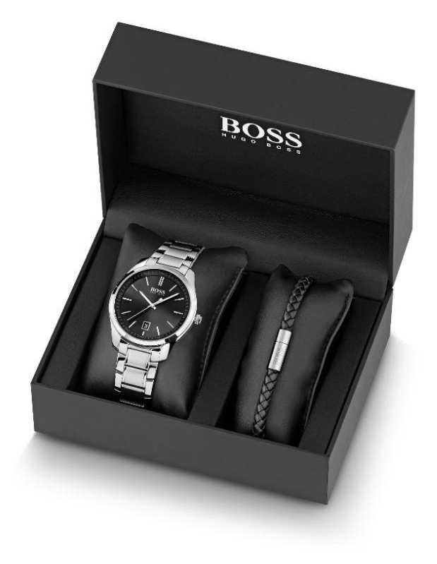 BOSS Men's Stainless Steel Watch & Black Leather Bracelet Set 1570084