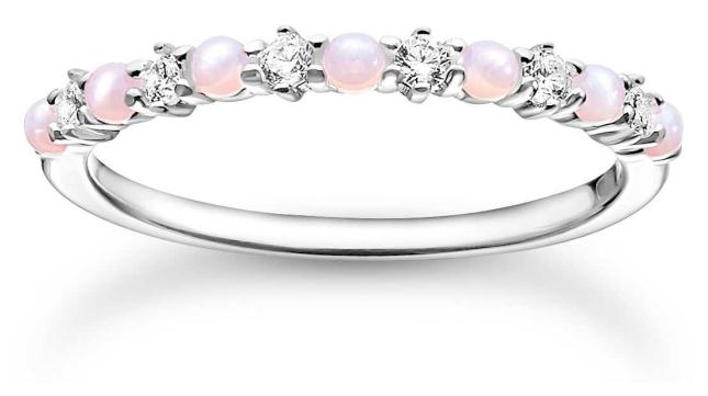 Thomas Sabo Sterling Silver Ring | Pink Stones | Size 56 (UK O 1/2) TR2343-166-7-56