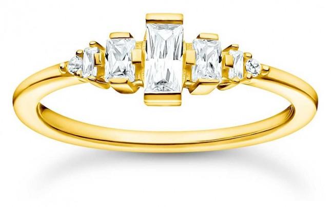 Thomas Sabo Gold Plated Vintage White Stones Ring | Size 54 (UK N) TR2347-414-14-54