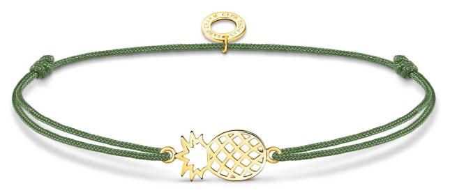 Thomas Sabo Little Secrets | Green Nylon Gold Plated Pineapple Bracelet LS122-379-6-L20V