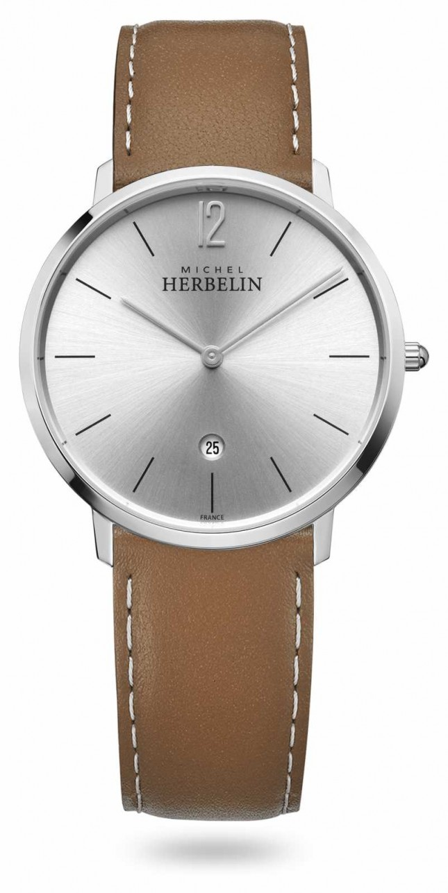 Michel Herbelin City | Brown Leather Strap | Silver Dial 19515/11GO