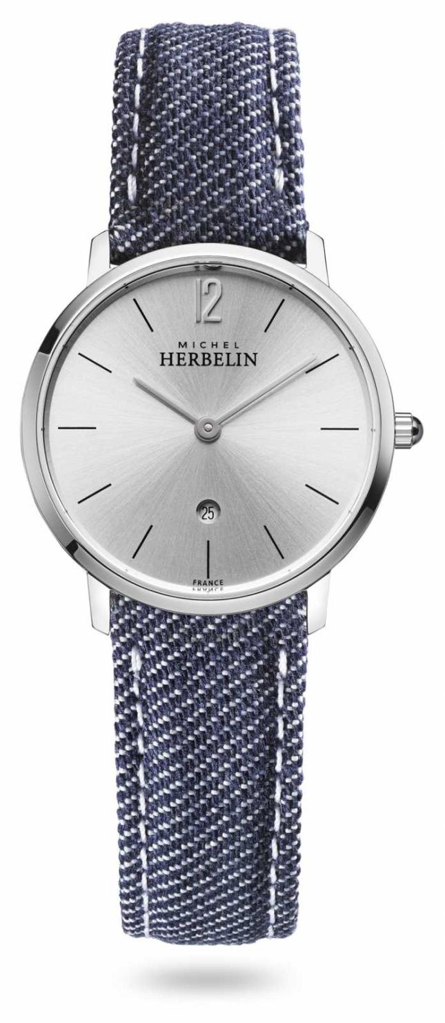 Michel Herbelin City | Blue Denim Strap | Silver Dial 16915/11JN