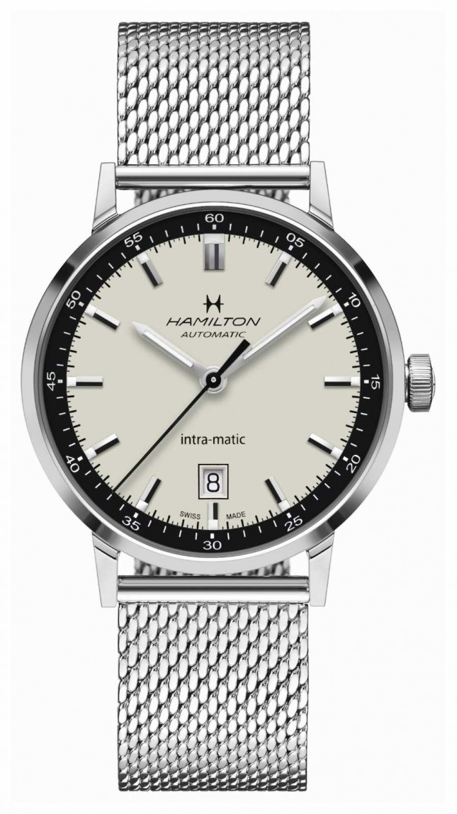 Hamilton American Classic   Intra-matic   Steel Mesh Bracelet   White Dial H38425120