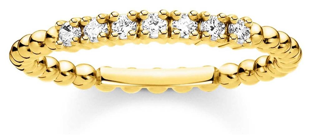 Thomas Sabo Gold Plated Ehite Stone Dot Ring Size EU 60 (UK S) TR2323-414-14-60