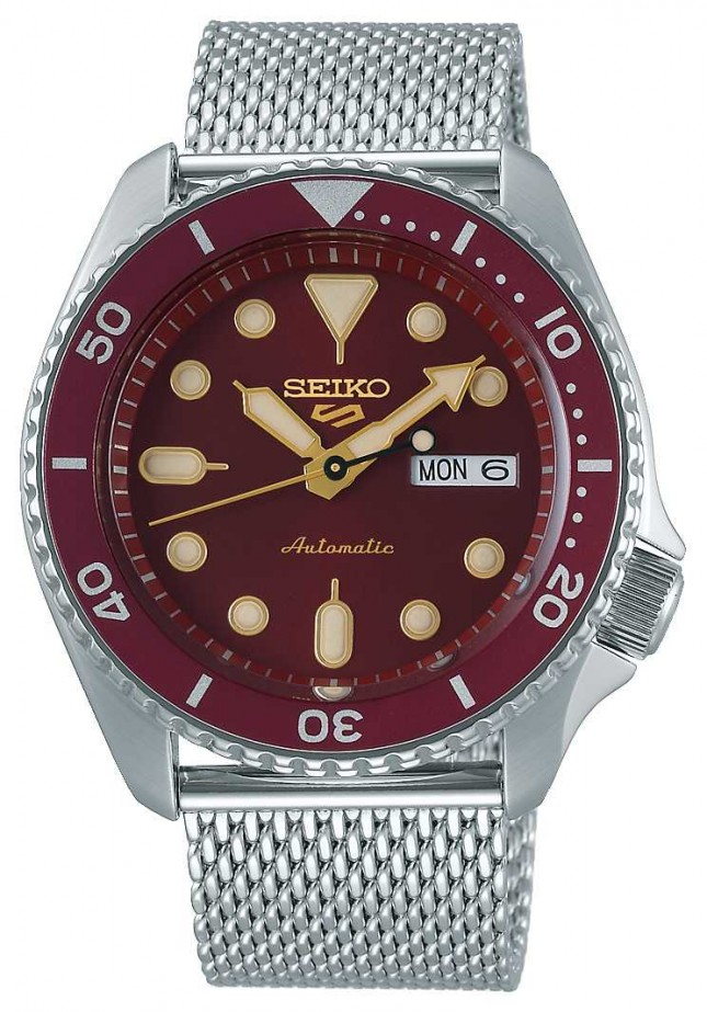Seiko 5 Sport | Men's | Steel Mesh Bracelet | Red Dial | Automatic | SRPD69K1