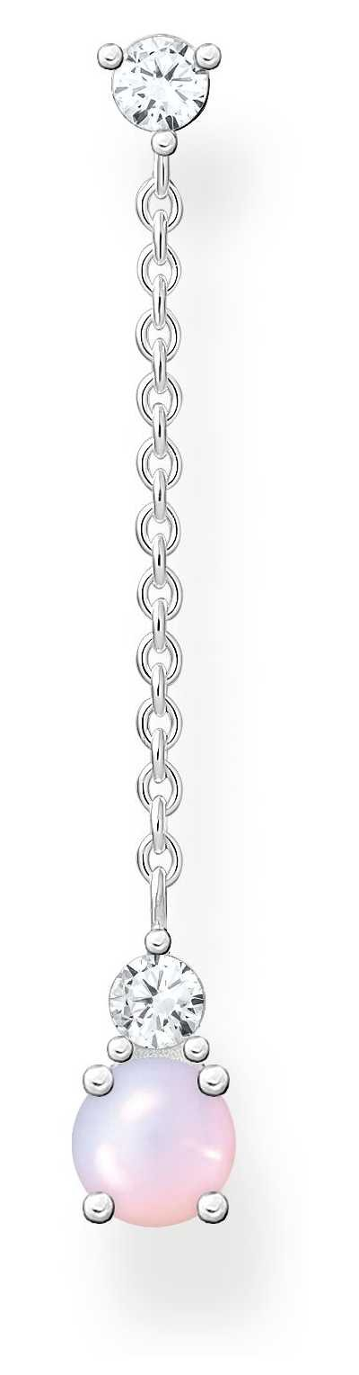 Thomas Sabo Sterling Silver Single Drop Stud Earring | Shimmering Pink Opal Effect H2180-166-7
