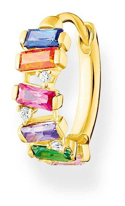 Thomas Sabo Gold Plated Colourful Stones Single Hoop Earring CR665-488-7