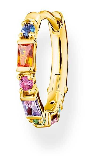 Thomas Sabo Gold Plated Single Hoop Earring | Colourful Stones CR666-488-7