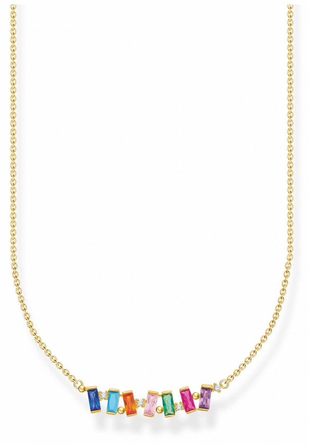 Thomas Sabo Gold Plated Colourful Stones Necklace KE2095-488-7-L45V