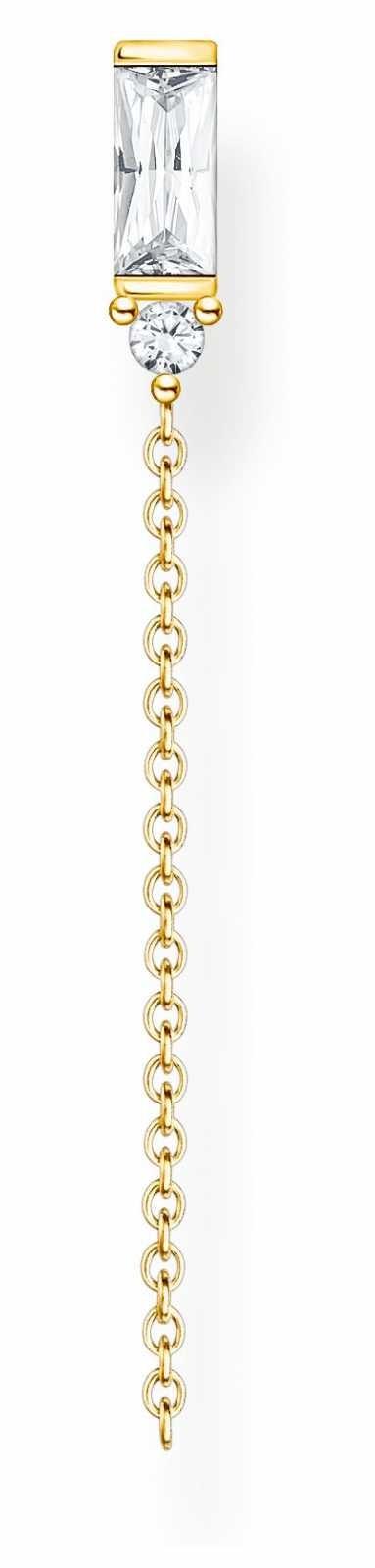 Thomas Sabo Gold Plated Single Drop Stud Earring | Baguette Cut Stone H2183-414-14