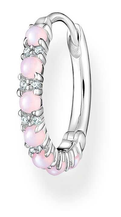 Thomas Sabo Sterling Silver Single Hoop Earring | Pink Stones CR664-166-7