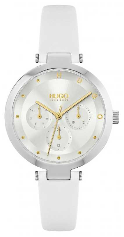 HUGO #HOPE | Women's White Leather Strap | Silver Dial 1540086