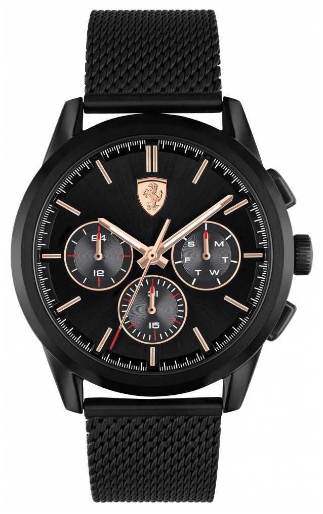 Scuderia Ferrari Grand Tour | Men's Black Mesh Bracelet | Black Dial 0830807