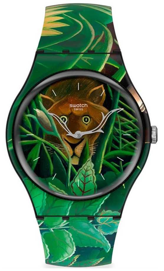 Swatch MoMA | THE DREAM BY HENRI ROUSSEAU | Green Jungle Print Silicone Strap SUOZ333