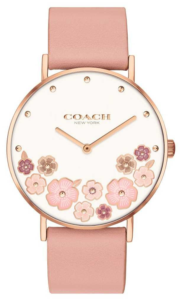 Coach Perry | Women's Pink Calf Skin Leather Strap | Floral Dial 14503770