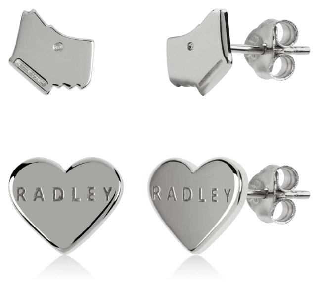 Radley Jewellery Love Heart | Sterling Silver Dog Head & Heart Stud Earrings Set RYJ1165S