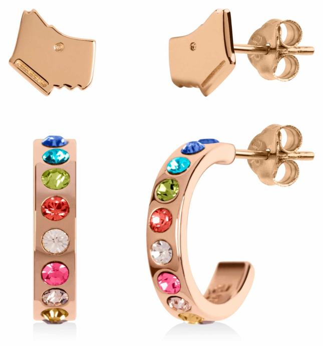 Radley Jewellery Love Letters | Rose Gold Plated Dog Head & Hoop Stud Earring Set RYJ1162S-CARD