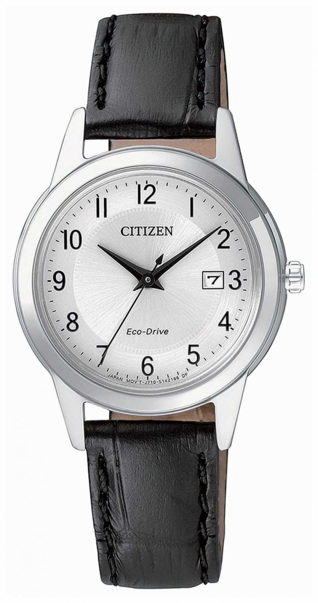 Citizen Ladies J710 Eco-Drive Stainless-steel Black Leather Watch FE1081-08A