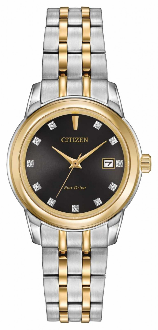 Citizen Womens 11 Diamond Two Tone Stainless Steel EW2394-59E