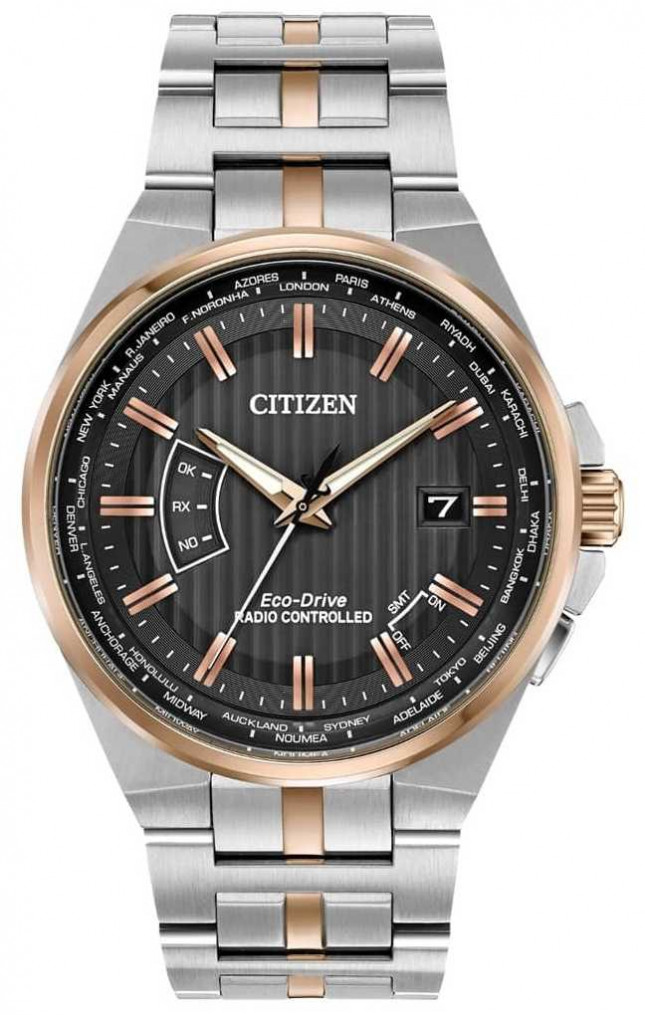 Citizen Mens World Perpetual A-T Stainless Steel & Rose Gold IP CB0166-54H