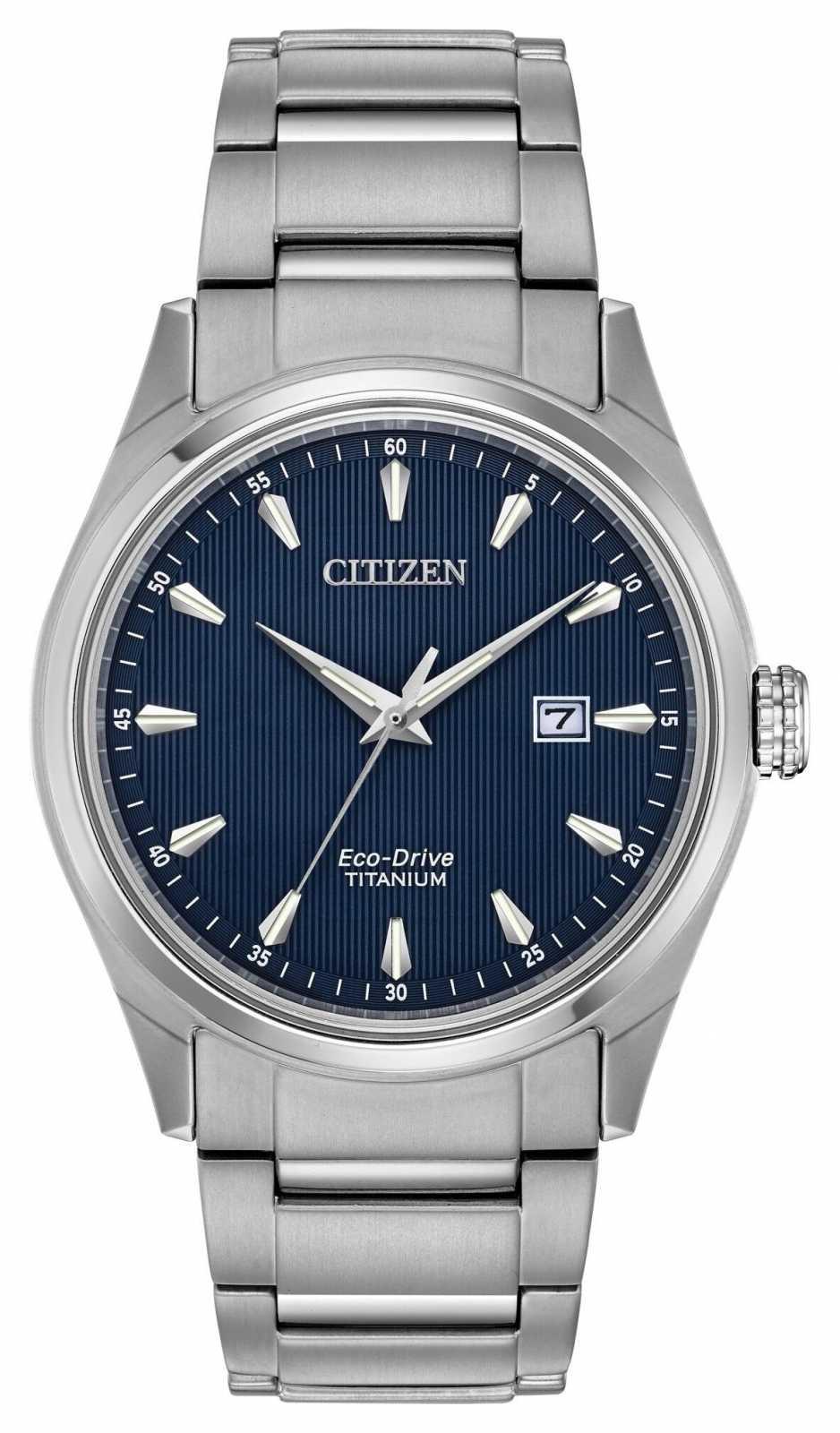 Citizen Men's blue dial Silver Tone Super Titanium bracelet BM7360-82L