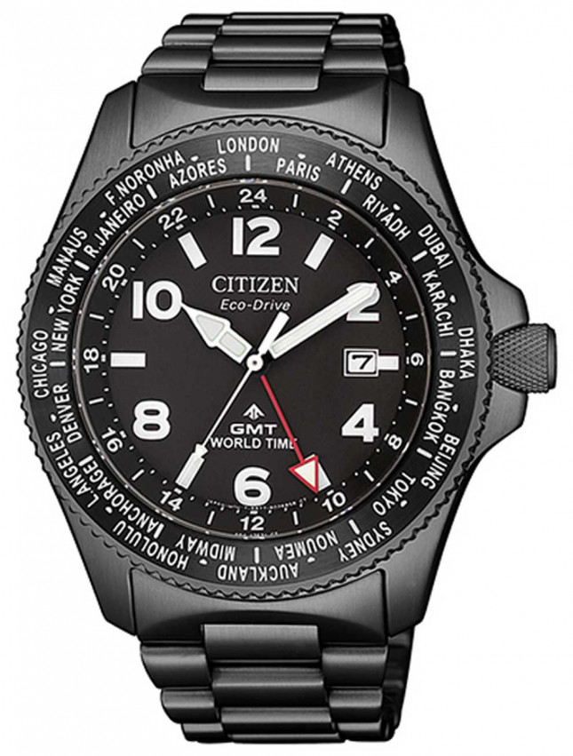 Citizen   Mens Eco-Drive Promaster GMT  Black Dial   Grey PVD BJ7107-83E