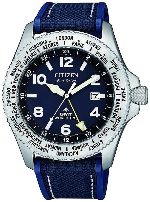 Citizen Mens Eco-Drive Promaster GMT Blue Dial Blue Canvas Strap Watch BJ7100-15L