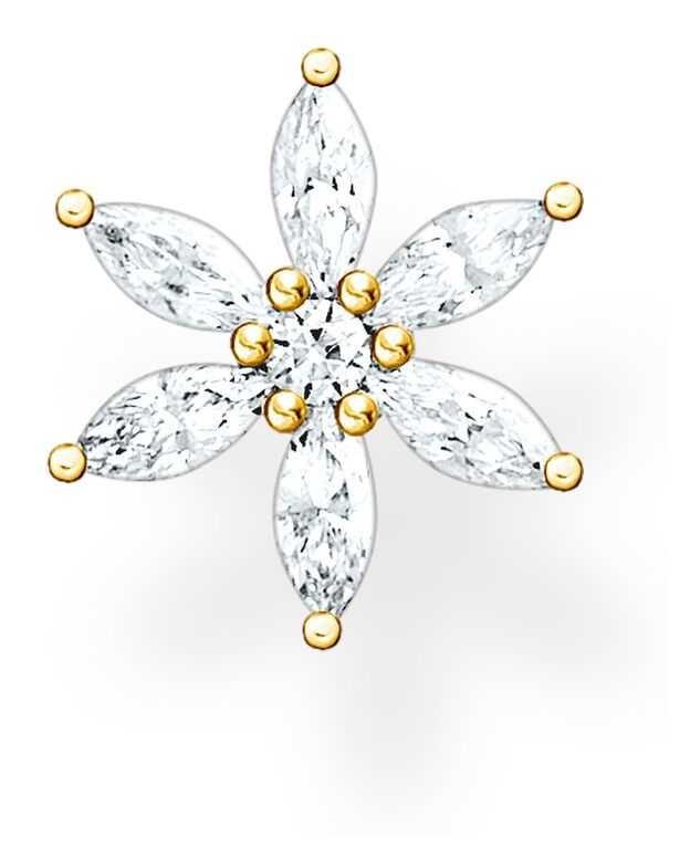 Thomas Sabo Happy Moments   Filigree Flower Single Ear Stud   White Stones H2196-414-14