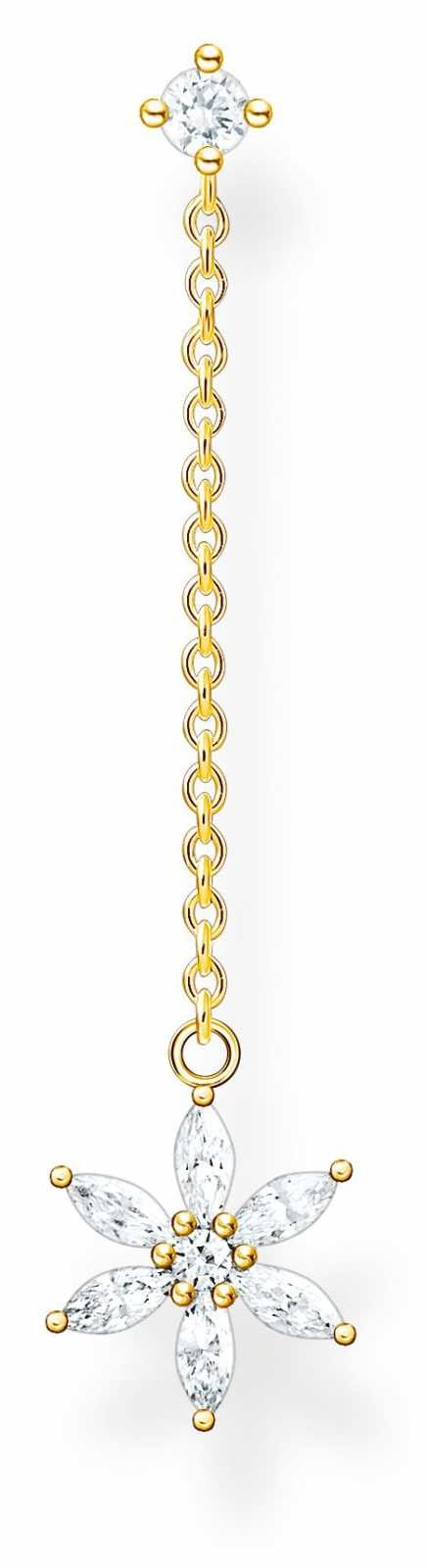 Thomas Sabo Happy Moments | Filigree Flower Single Drop Stud Earring | Gold Plated H2198-414-14