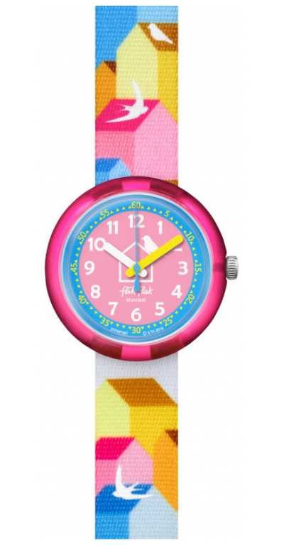 Flik Flak CASITAS | Multi-Coloured Fabric Strap | Blue/Pink Dial FPNP067