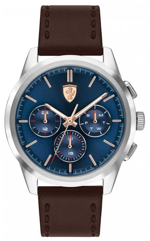 Scuderia Ferrari Grand Tour | Men's Brown Leather Strap | Blue Dial 0830806