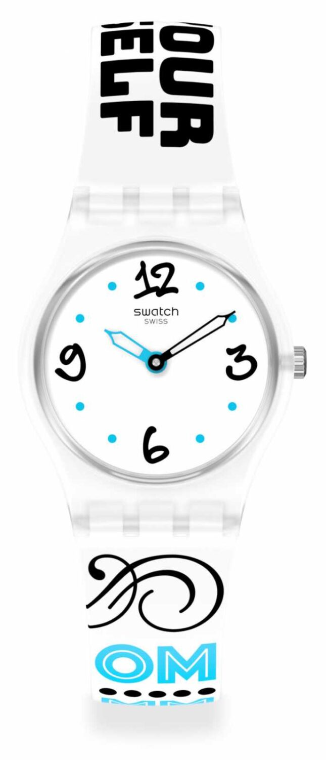 Swatch #BLUEFEATHER | White Pattern Silicone Strap | White Dial LW171