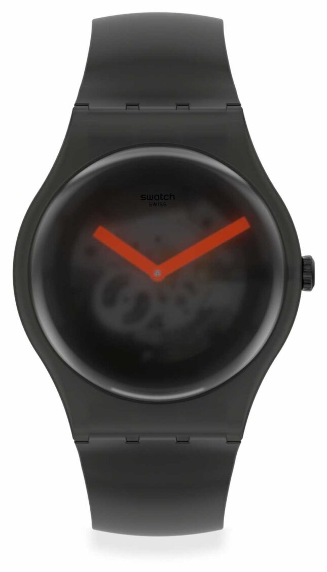 Swatch BLACK BLUR   Black Silicone Strap   Black Transparent Dial SUOB183