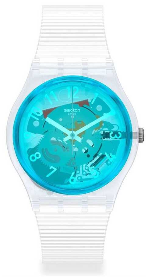 Swatch RETRO-BIANCO | White Silicone Strap | Blue Transparent Dial GW215