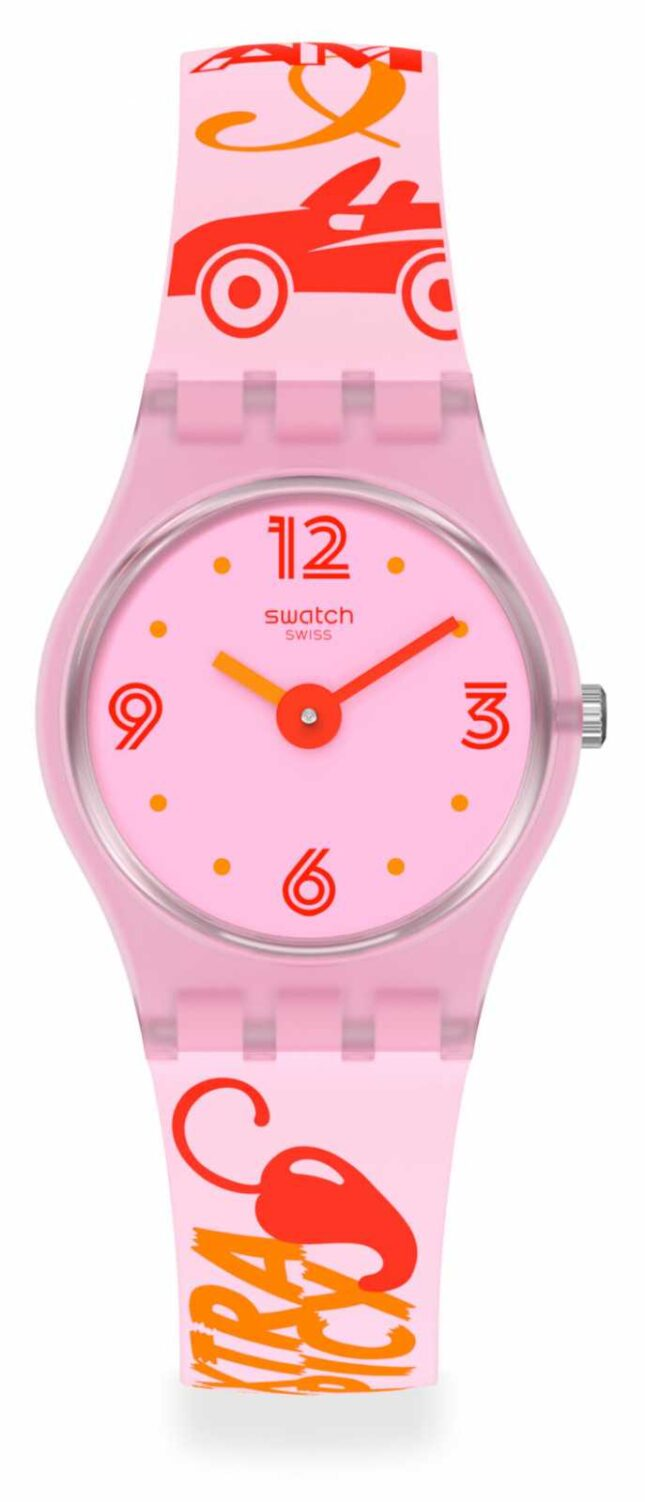 Swatch #CHILLIPASSION | Pink Pattern Silicone Strap | Pink Dial LP164