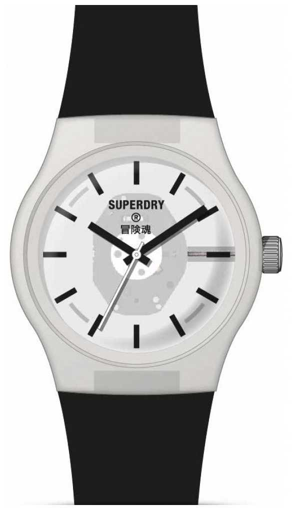 Superdry Black Soft Touch Silicone Strap | White Semi Transparent Dial SYG347B