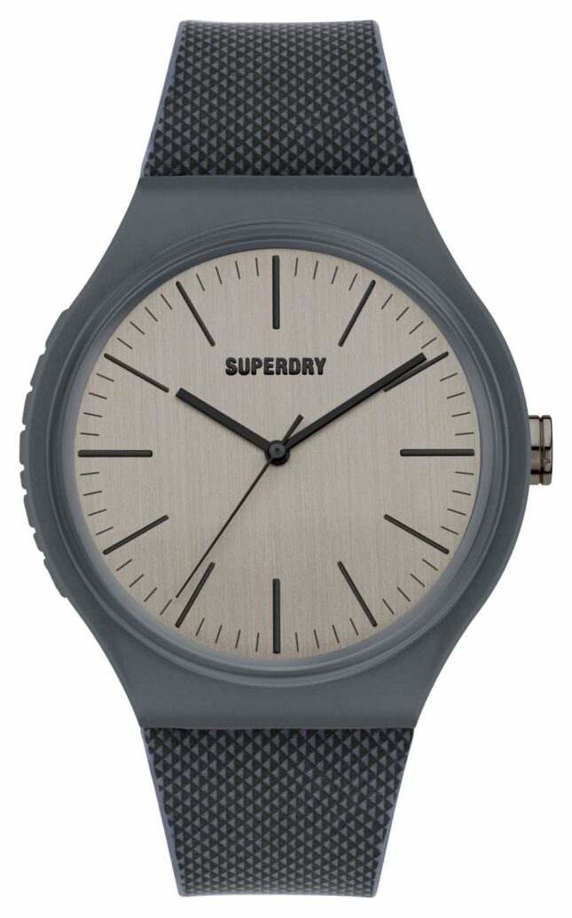 Superdry Grey Silicone Soft Touch Cool Grey Dial SYG344E