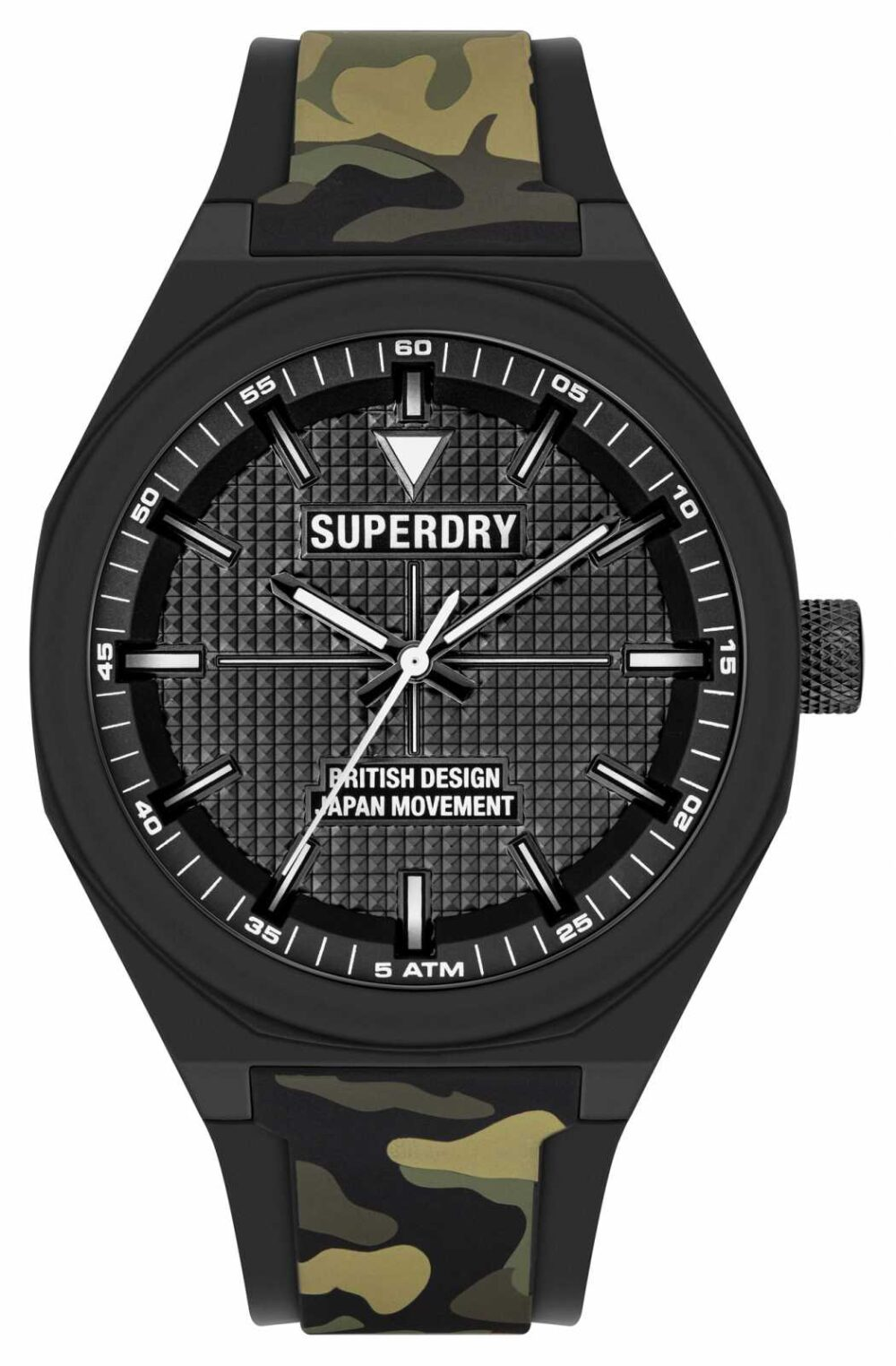 Superdry Camo Printed Silicone Soft Touch Black Dial SYG324BN