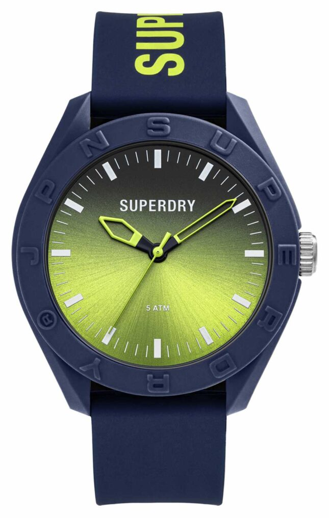 Superdry Navy Soft Touch Silicone Lime Graduated Sunray Dial SYG321UN