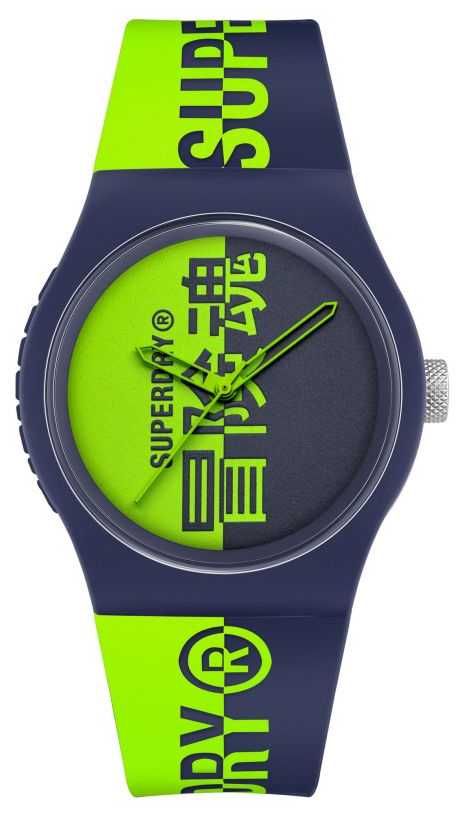 Superdry Navy & Green Printed Silicone Soft Touch Strap | Green Print Dial SYG346UN