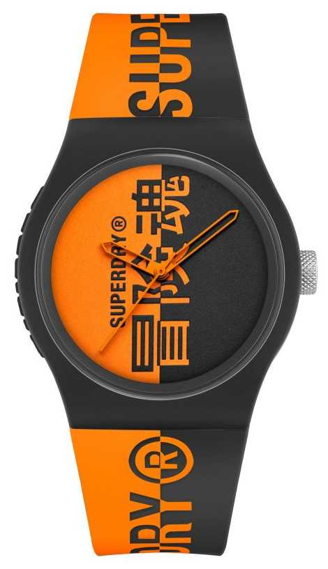 Superdry Black & Orange Printed Silicone Soft Touch Strap | Orange Print Dial SYG346BO