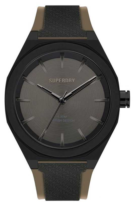 Superdry Black Soft Touch Silicone Strap | Gunmetal Grey Sunray Dial SYG349B
