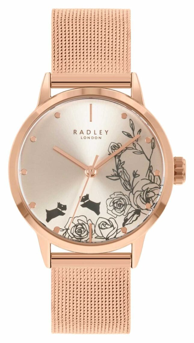 Radley Women's Rose Gold Mesh Bracelet   Silver Floral Dial RY4582A
