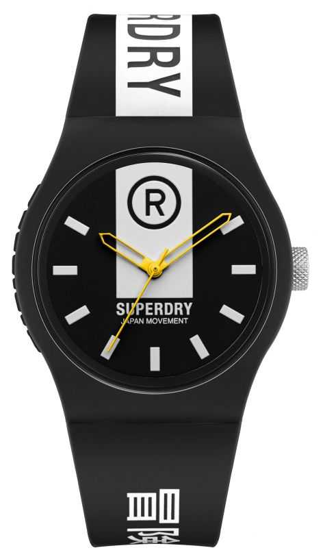 Superdry Black & White Printed Soft Touch Silicone Strap | White Print Dial SYG348B