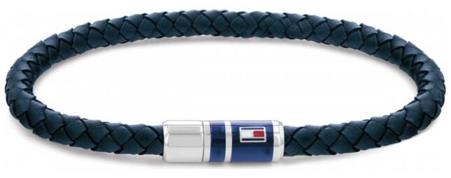 Tommy Hilfiger Men's Blue Casual Leather Braided Bracelet 2790294