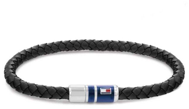Tommy Hilfiger Men's Casual Leather Black Braided Bracelet 2790293